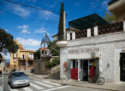Foto op Canvas Barcelona street in mountains district. Barcelona
