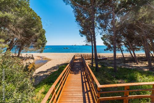 Wooden boardwalk in Santa Maria Navarrese coast