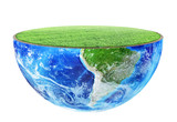 Half of planet with green grass on a white background