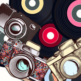 Fashion illustration with camera and hipster retro discs - 193558072