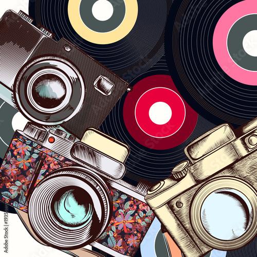 Fototapeta Fashion illustration with camera and hipster retro discs