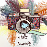 Fashion illustration with camera and palm leafs. Hello summer - 193558892