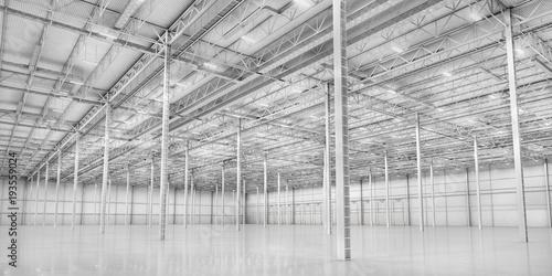Empty modern white warehouse. 3d illustration