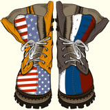 Fashion illustration with military boots with US and Russia flags. Conceptual design - 193559285