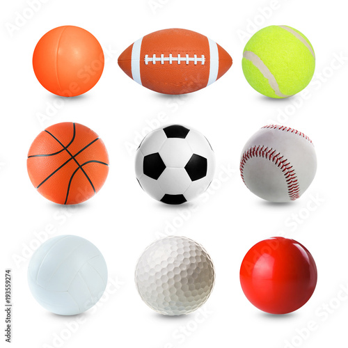 Deurstickers Bol Set of Sports Balls on white background