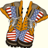 Fashion illustration with military boots with US flag - 193559891