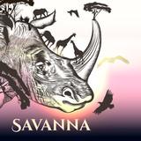 Illustration with hand drawn savanna rhinoceros, eagles and elephants - 193561005