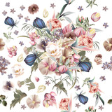 Floral pattern with high detailed flowers. Pink roses and lilac - 193561058