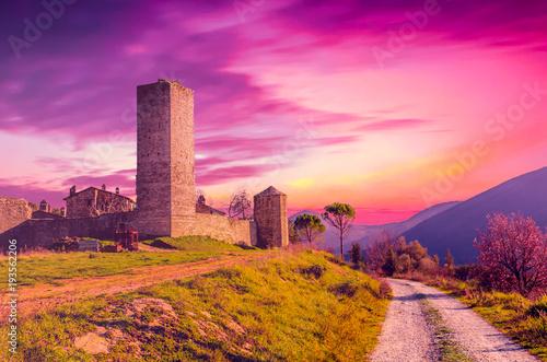In de dag Candy roze View of Santa Giuliana castle, Umbria, Italy