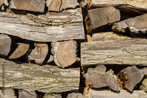 Keuken foto achterwand Brandhout textuur Pile of firewood. Background.