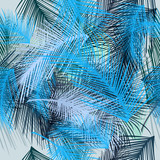 Pattern from tropical palm leafs. Vector blue fabric blue wallpaper design - 193563219