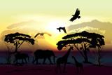 Savanna vector landscape with animals elephant, giraffe, eagles - 193563485
