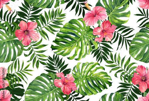 Seamless pattern with monstera and palm leaves on white background.Tropical camouflage print. © le2chis