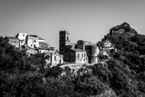 Black and white image of Savoca, a mediaval village in Sicly
