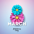 8 March. Happy Womens Day Floral Greeting card. International Holiday Illustration with Flower Design on Pink Background. Vector Spring Template. - 193578664