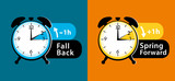 Daylight Saving Time Summer Fall Back And Spring Forward Alarm Clocks Set Colorful  Illustration Wall Sticker