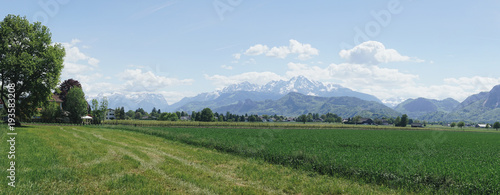Aluminium Zomer Nature landscape with mountain