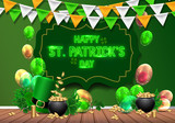 Patrick's Day Greeting Card Saint Patrick's Day Festive Composition  Beer Glass Golden Coins Hat And Clover Leaves On Wooden Frame Wall Sticker