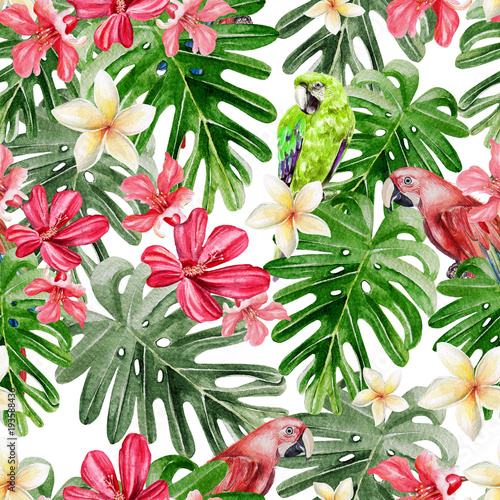 Beautiful bright watercolor pattern with tropical leaves and flowers Plumeria, Hibiscus and Parrot.  - 193588436