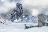 A flying Castle in Icy Northland - 193593864