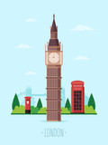 Welcome to London. British Famous Landmark Big Ben with Park in the Background. Flat Design Style.
