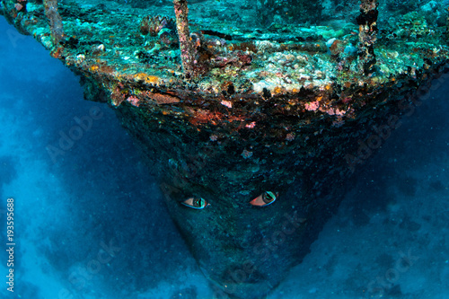 Fotobehang Schipbreuk Flying Dutchman style ghost ship pirates of carribean sunk underwater
