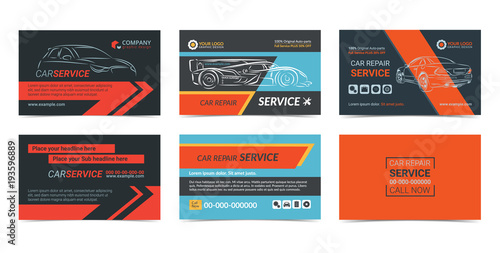 set of automotive repair service business cards layout templates create your own business cards - Create Your Own Business Cards