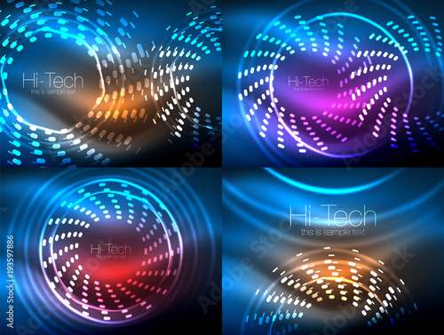 Set of glowing neon techno shapes, abstract background collection. Vector futuristic magic space wallpapers