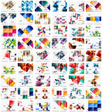 Mega collection of 100 business annual report brochure templates, A4 size covers created with geometric modern patterns - squares, lines, triangles, waves - 193598026
