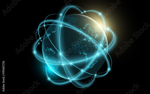 Futuristic planet earth. Glowing world map of dots. Abstract background. Space composition. Space cyber concept. Global network connection. Graphic element. Vector illustration - 193607216