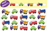 How many objects of transport. Educational game for children. Vector illustration.