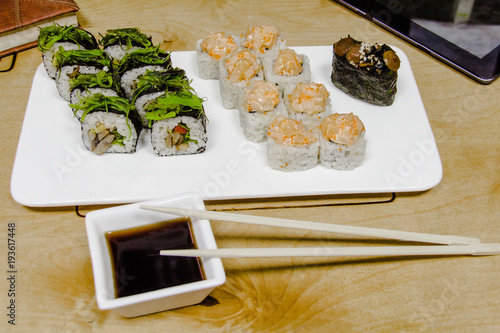 Tuinposter Sushi bar Vegetarian sushi and roll set with vegetables. Japanese food. 4