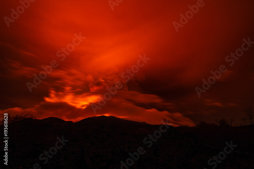 Foto op Canvas Rood traf. Volcano eruption landscape at night - Mount Etna in Sicily