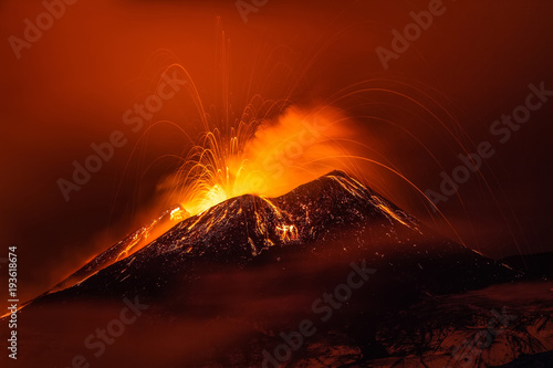 Papiers peints Marron Volcano eruption landscape at night - Mount Etna in Sicily