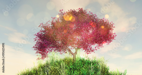 Tuinposter Beige 3D cherry tree on a grassy globe