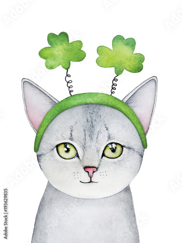 Gray kitten character portrait wearing festive shamrock accessory, lucky symbol. Happy, smiling, cute pet print. Hand drawn watercolour graphic illustration on white background, cutout template. - 193629835