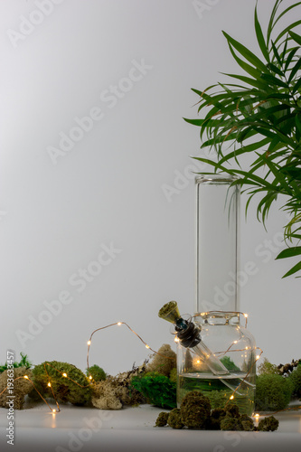 Fotobehang Apotheek Glass bong with marijuana, tropical plant, lights and moss against white background