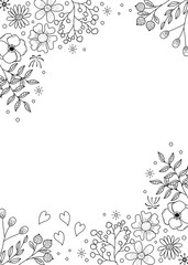 Flower frame coloring book for adult. doodle style.vector illustration. handdrawn.