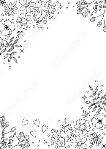Flower frame coloring book for adult. doodle style.vector illustration. handdrawn.