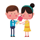 Boy giving flowers to his girlfriend vector illustration graphic design