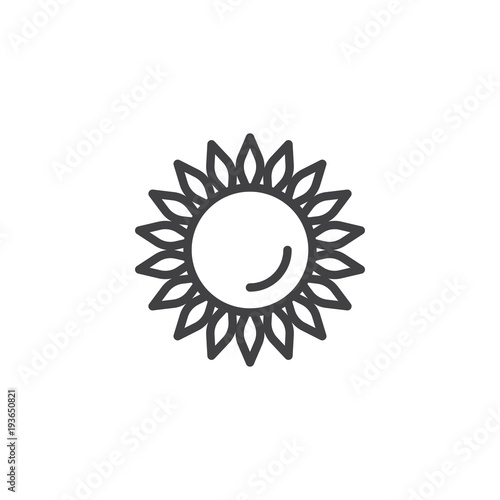 Sunflower outline icon. linear style sign for mobile concept and web design. Helianthus simple line vector icon. Symbol, logo illustration. Pixel perfect vector graphics