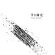 Dirt track from the car wheel protector. Tire track silhouette. Grunge tire track. Black tire track. Vector illustration