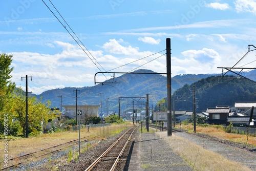 Fotobehang Spoorlijn ローカル線のホーム