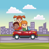 Kids in convertible cart riding in the city vector illustration graphic design
