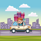 Kids driving car with gift vector illustration graphic design