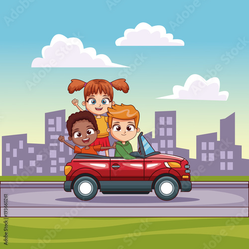 Plexiglas Auto Kids in convertible cart riding in the city vector illustration graphic design