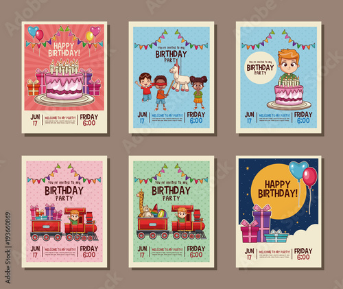 Set On Birthday Kids Party Invitation Card Vector Illustration Graphic Design
