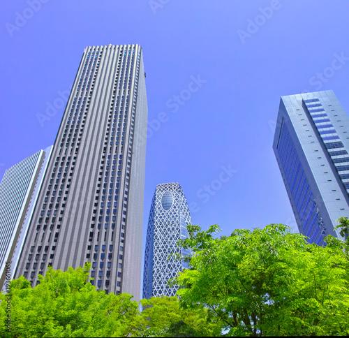 Tuinposter Tokio 新緑の新宿副都心の風景
