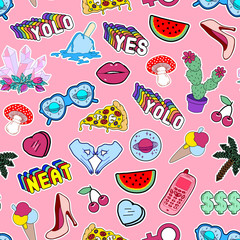 Seamless pattern with lips, hearts, cactuses, watermelon, slang phrases, pizza,etc. Pink vector background with stickers, pins, patches in quirky cartoon style.