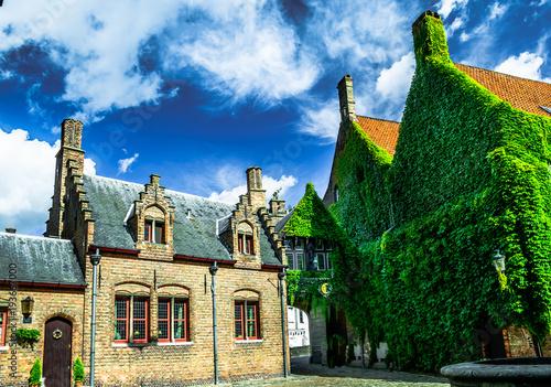 Deurstickers Brugge View on historical stone buildings in Bruges - Belgium